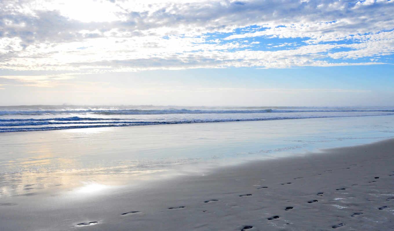 берег, океан, more, волны, песок, февр, небо, priroda,