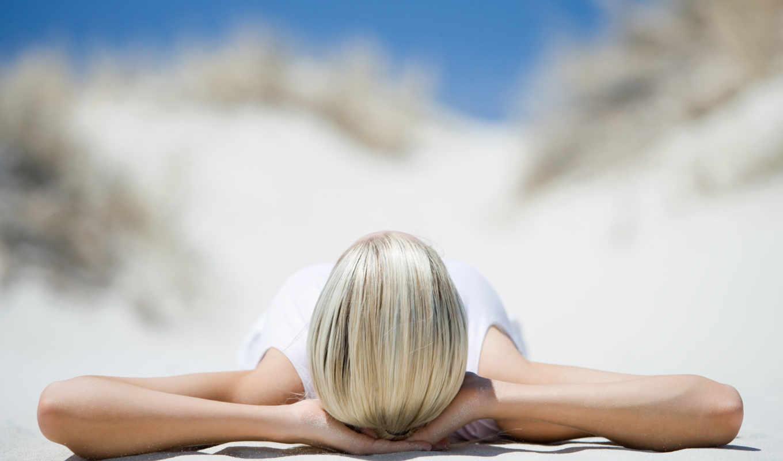 девушка, пляж, природа, релакс