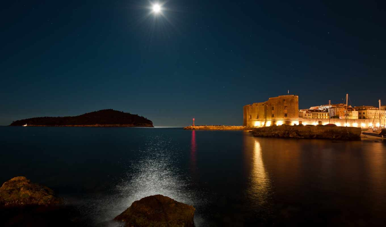 ночь, море, луна, скалы, свет, огни, dubrovnik, отражения,