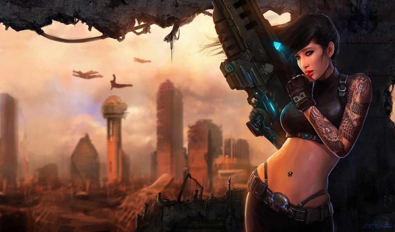 девушка, арта, оружие, город, развалины, стена, вадим, винтовка, fantastic, акпп
