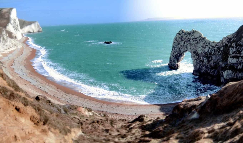 rock, fca, камень, великобритания, море, побережье, песок, волна, landscape, water