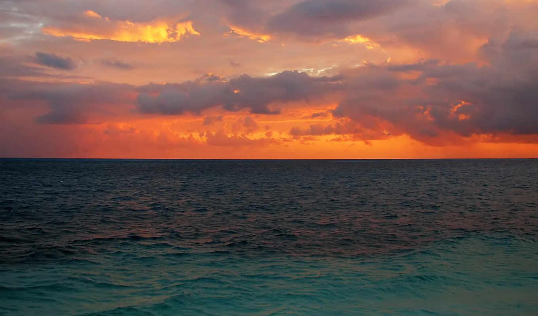 природа, небо, wallpapers, закат, солнце, горизонт, морские, настроение, над, просторы,
