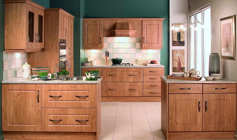 кухня, кухни, деревянная, интерьер, стены, картины, зеленые,