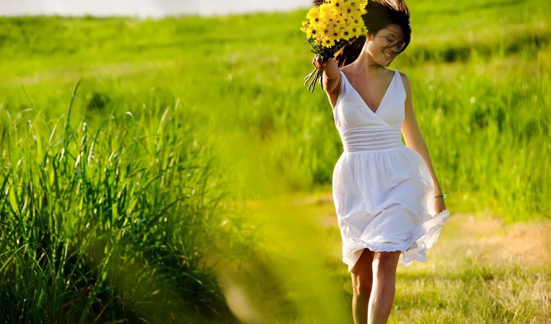 счастье, девушка, ветер, цветы, поле, трава, белое платье