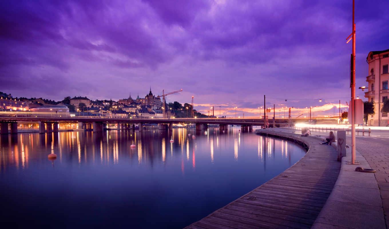 sweden, stockholm, вечер, картинка, full, огни, города, angeles, dubai, совершенно,
