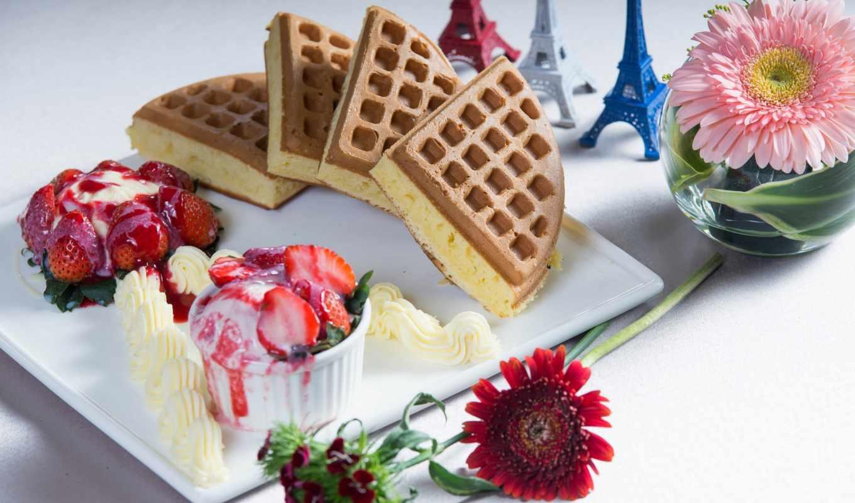 герберы, клубника, мороженое, десерт, cvety, ягоды, торт, turret, эйфелева,