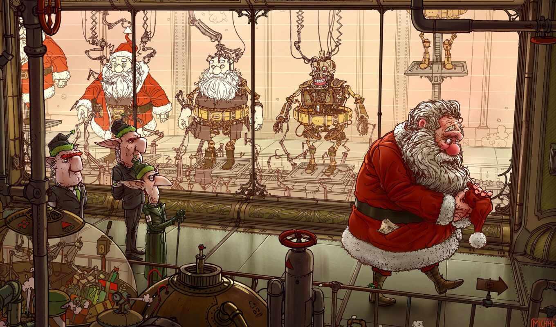 санта, christmas, clau, эльф, turun, использование, illustration, балла, robot, esc, полировка