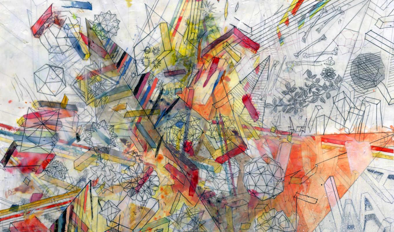 чертежи, краски, линии, abstract,