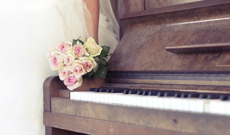 розы, свадьба, пианино,