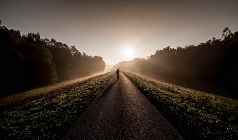 утро, солнце, дорога, лес, небо, человек, подвиг,