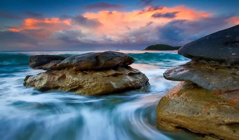 tapety, morze, prydz, eric, море, chmury, generate, скалы,