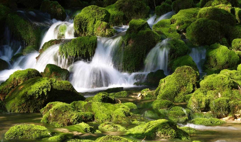водопад, landscape, ручей, лес, desktop,