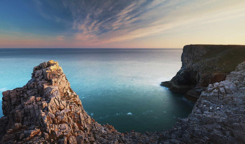 море, скалы, небо, cliffs, июл, пляж, берег,