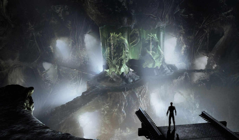 человечек, чудовище, зеленое, смотрите, alien, art, fantasy, digital, space, images, pictures, ship,