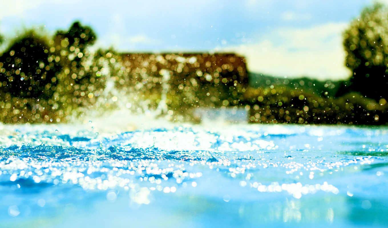 вода, брызги, bokeh, деревья, бассейн, капли, картинка, макро, голубая,