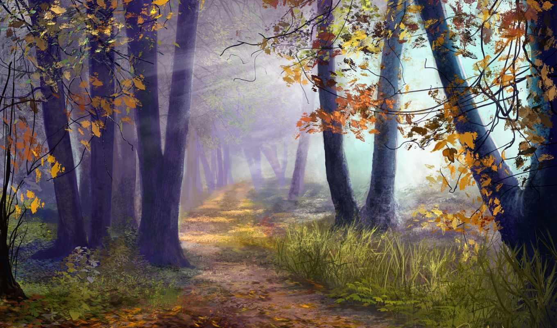 лес, арт, осень,