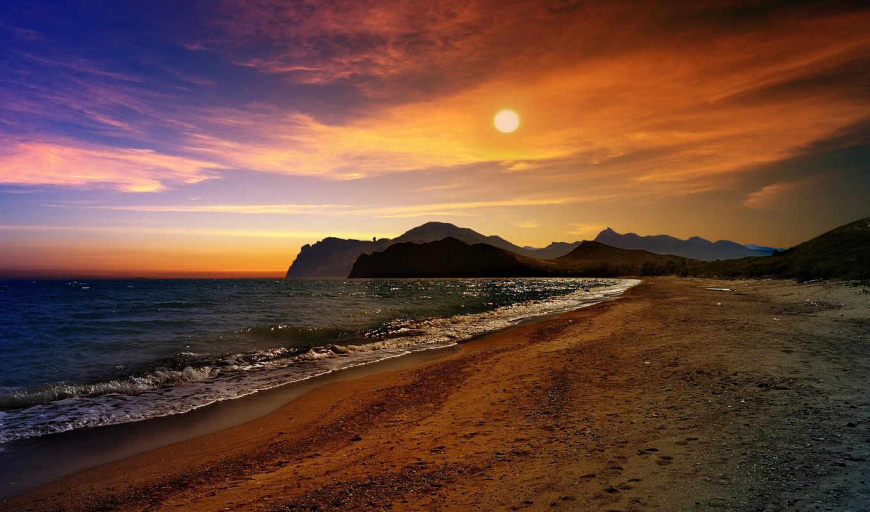 горы, море, крым, закат, чёрное, пляж, волны,