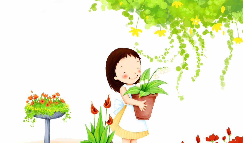 детские, девушка, улыбка, цветы,