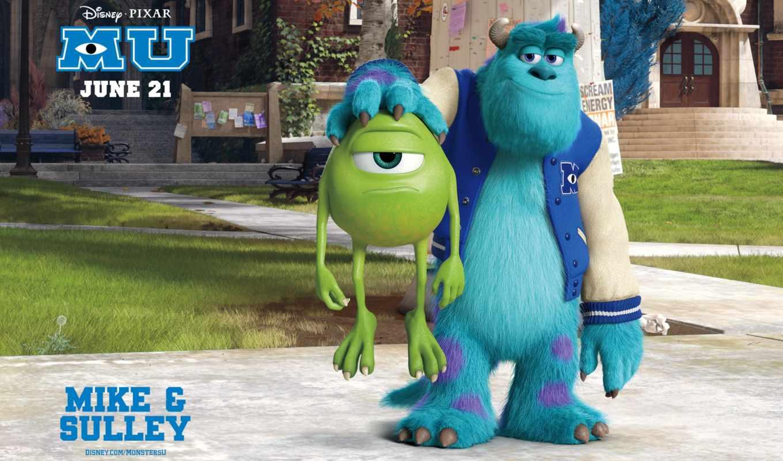 monsters, university, james, sullivan, mike, inc, sulley, monster, pixar,
