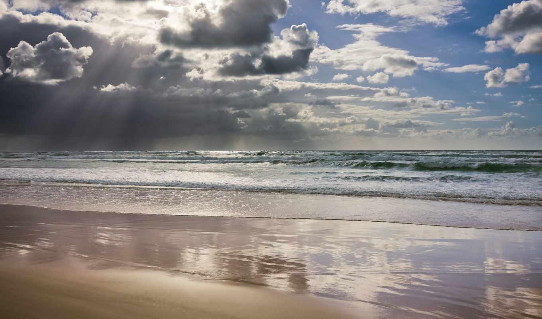 ocean, rays, мар, natureza, vista, линда, oblaka, vetor, praia,