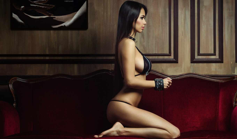 sit, девушка, песочница, волосы, диван