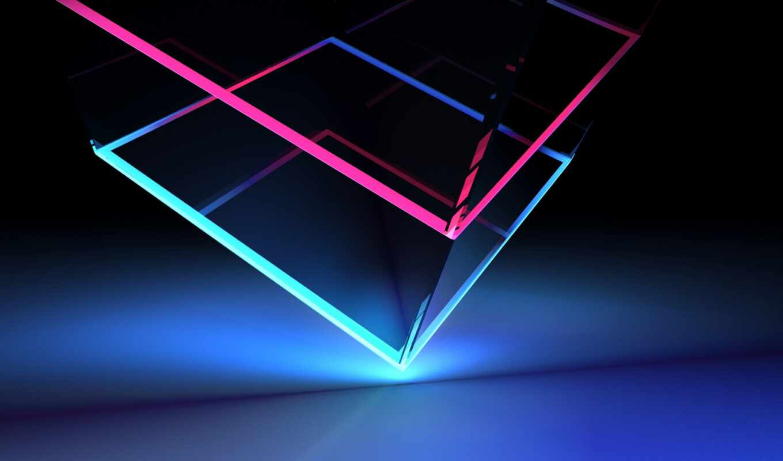 кубик, neon, свет, угол, colorful, glassy