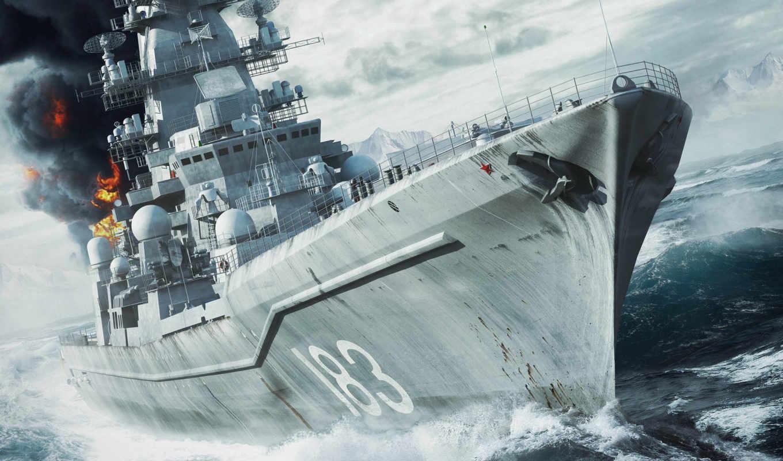 war, naval, circle, arctic, корабль, пушки, море, пожар,