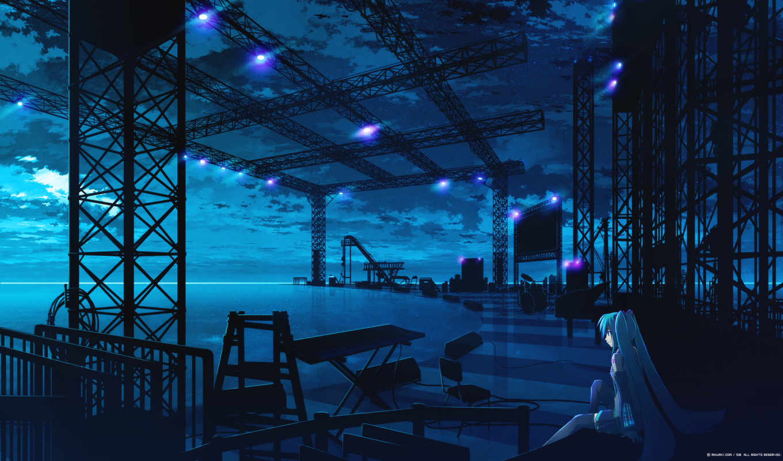 vocaloid, картинка, hatsune, miku, сцена, девочка, синий, аниме, причал, студия, предыдущая, картинку, правой, similar, кнопкой, share, minus,