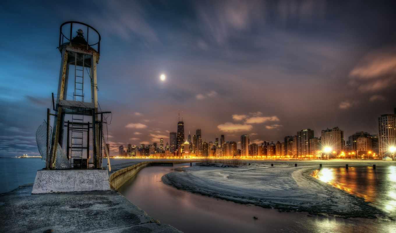 чикаго, город, ночной, win, дома, вода, янв,