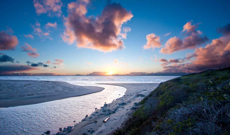 закат, пляж, sun, песок, море, категории, фоны,
