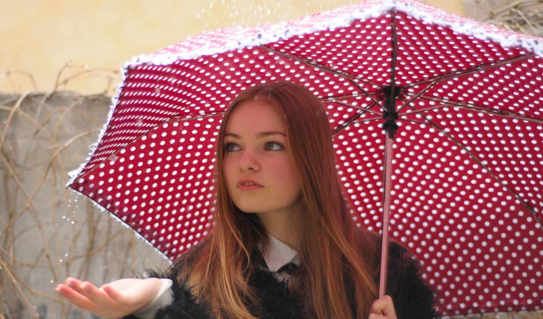 зонтик, девушка, дождь, под, devushki, улица,