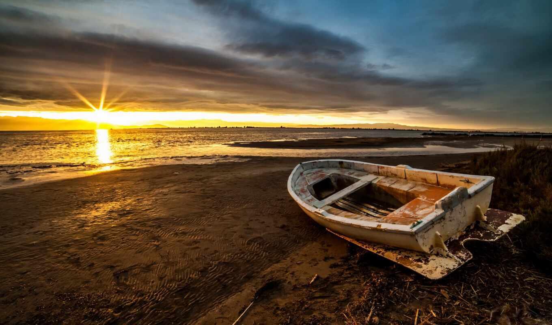 landscape, море, лодка, берег, побережье