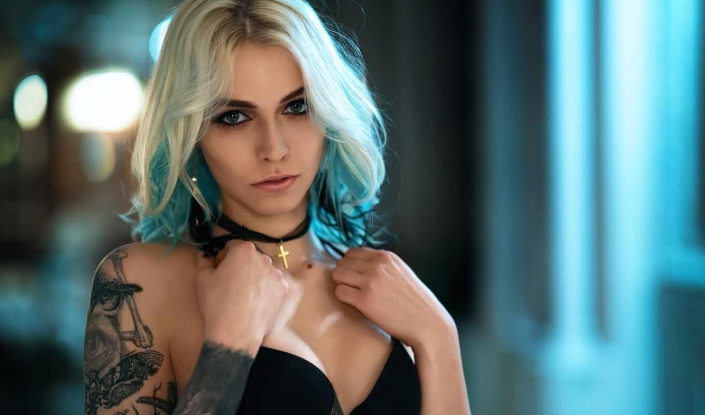 женщина, blonde, глаз, волосы, blue, глаза, dye, portrait