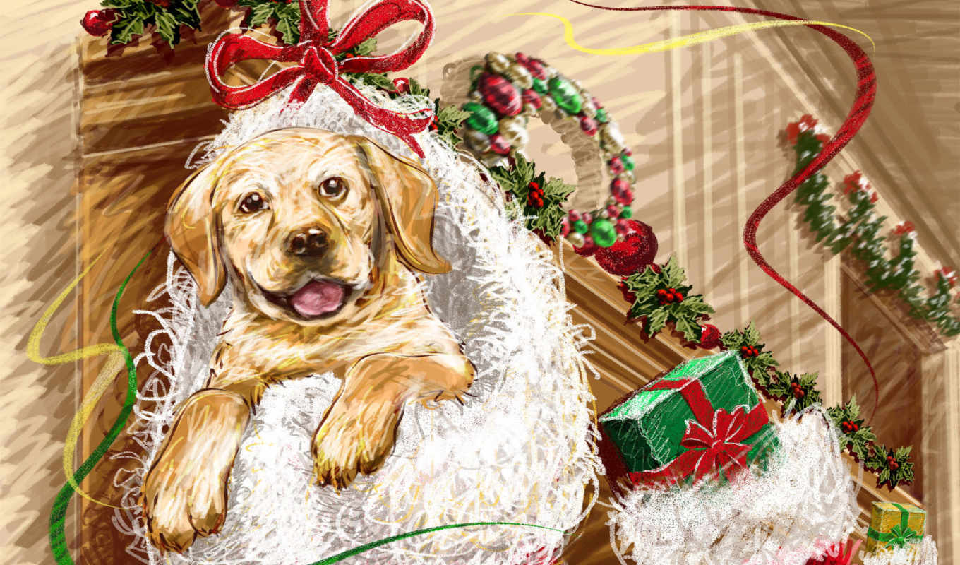 christmas, new, puppy, year, dog, escritorio, سينا, happy, www, код, fondo, paintings,
