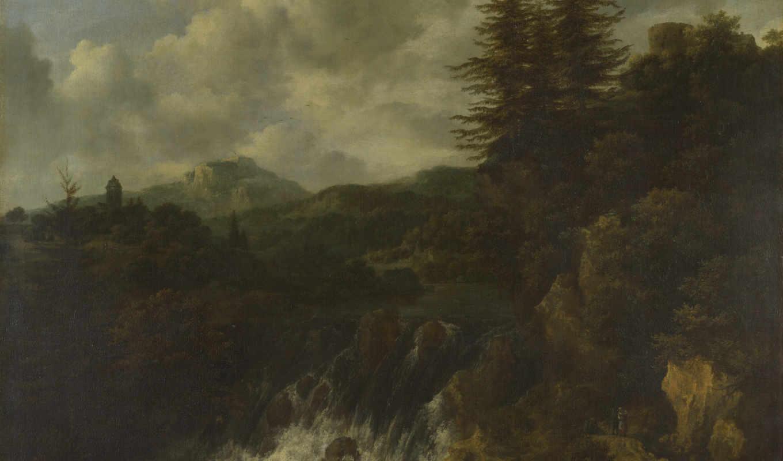 ван, landscape, водопад, ruisdael, castle, hill, jacob,