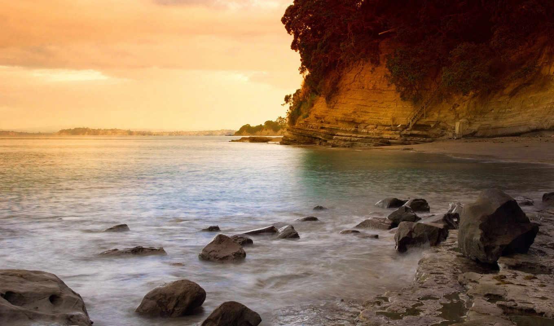 пляж, закат, берег, вектор, free, коллекция, рейтинг,