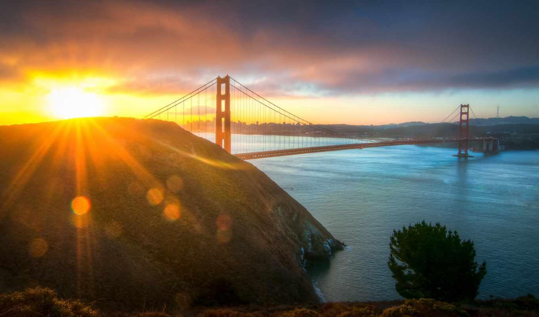 золотые, gate, утро, мост, francisco, фоны, изображения, sun, sana,