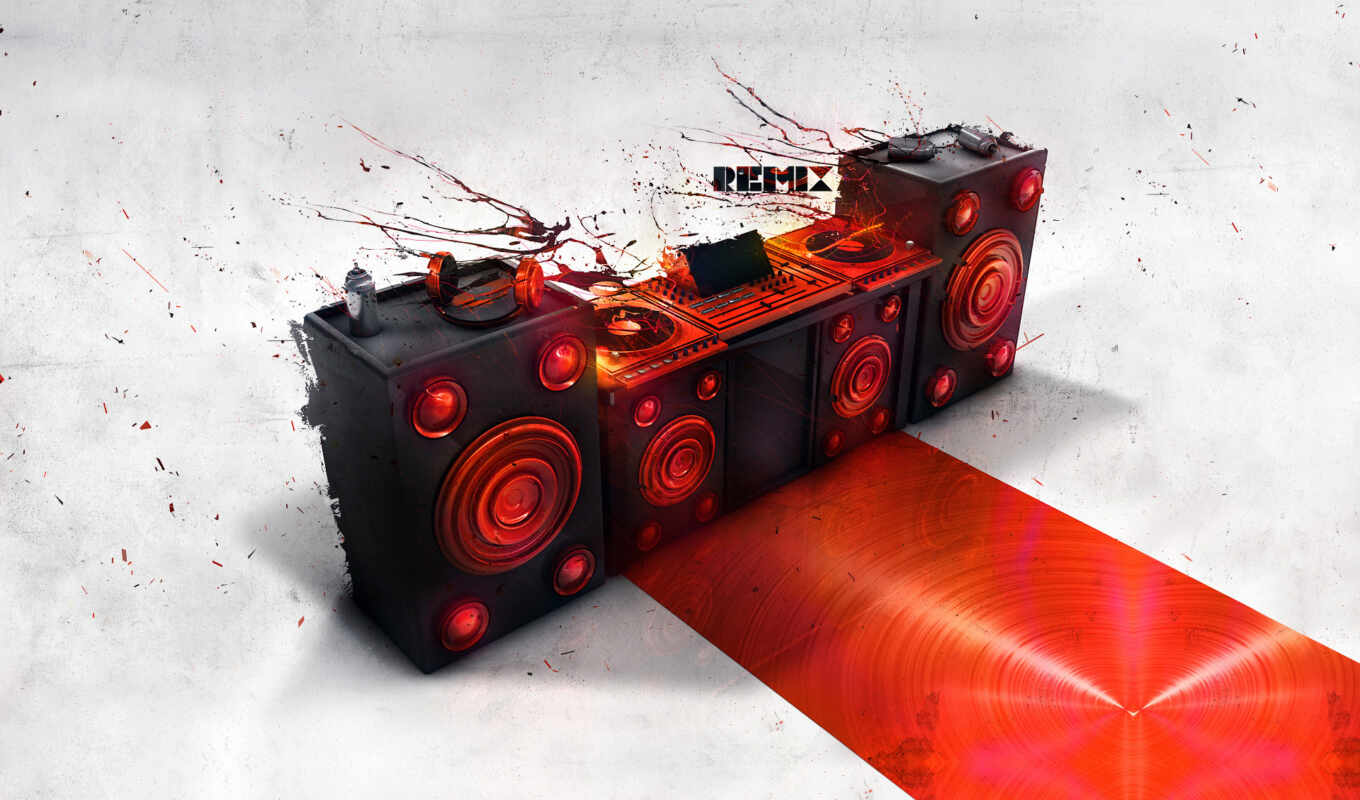 dj, speakers, red, console