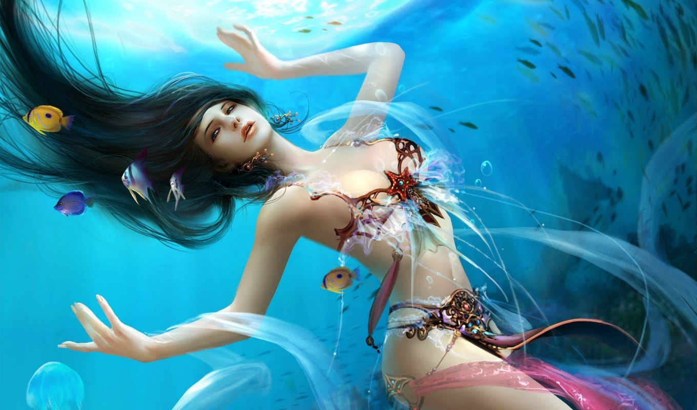 goddess, water, dehong, mermaid, underwater, sea, fish,