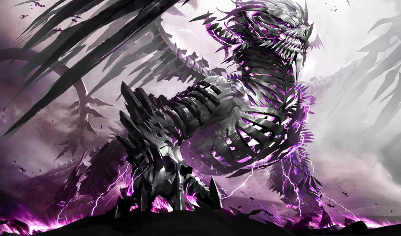 дракон, скелет, фэнтези, монстр, часть, gamewallpapers, anime, fantasy, изображение, dragons, game,