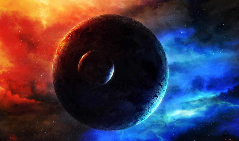 космос, свечение, спутник, туманность, арт, планета, ссылка,