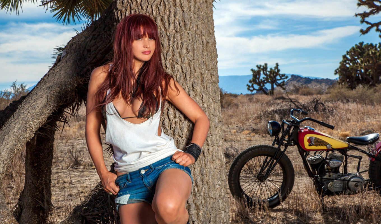 красавица, рыжая, модель, veronica, ricci, мотоцикл,