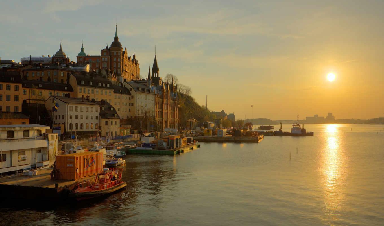 набережная, stockholm, sweden, река, sun, восход, трек,