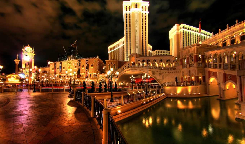 venezia, город, las, красиво, vegas, мост, hotel, water, italy,