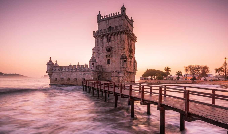 belém, башня, lisbon, закат, garden, включить, coastal, большой, gallery