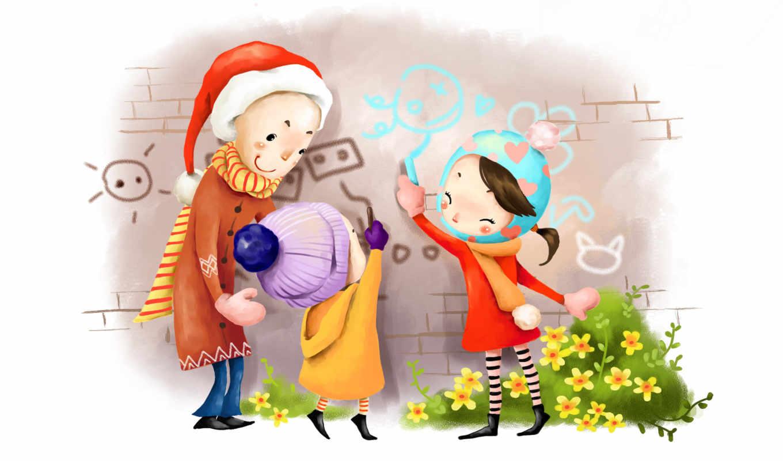 нарисованные, дети, мелки, рисунок, шапка, шарф, рисунок