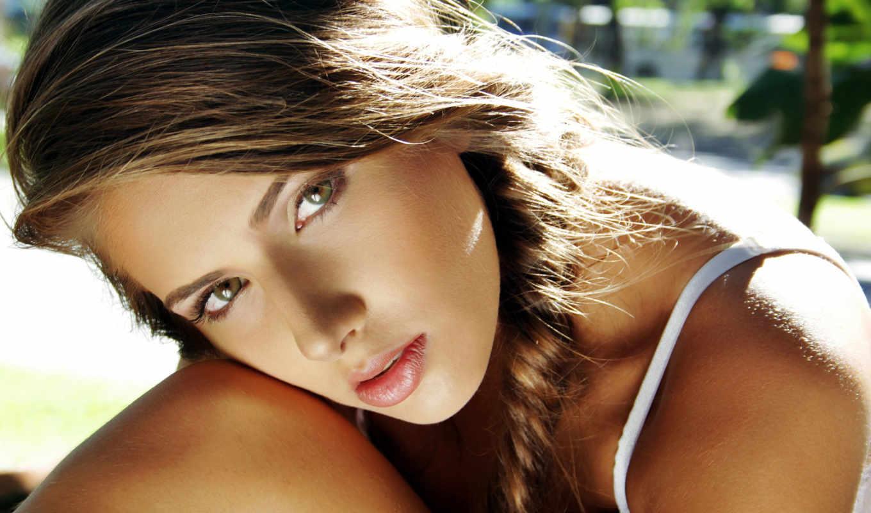 blonde, brunette, девушка, распущенными, пышными, голая, демонстрирует, свое, волосами, голубоглазая, симпатичная,