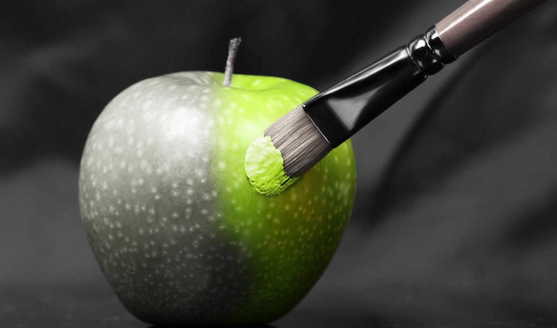creativ, apple, разное, white, зелёный, чёрно, плод,