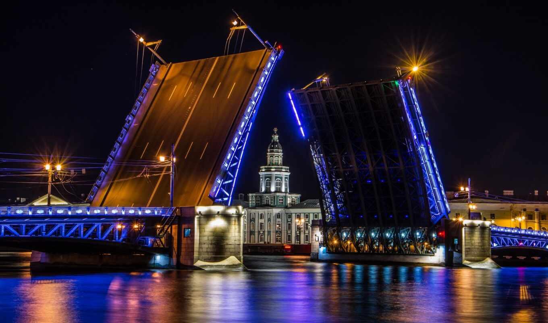 санкт, петербург, мост, kunstkamera, rook, река, cityscape, казань, дворец