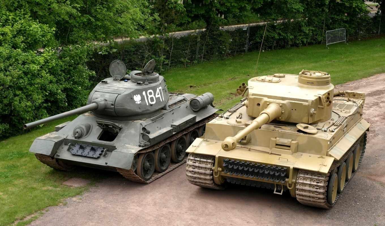 танки, техника, тигр, оружие, военная, картинка, забор, танк, деревья,